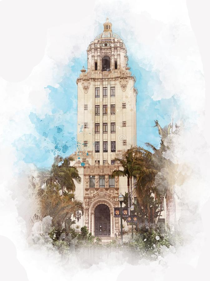 Beverly Hills City Hall Los Angeles - USA stock illustrationer
