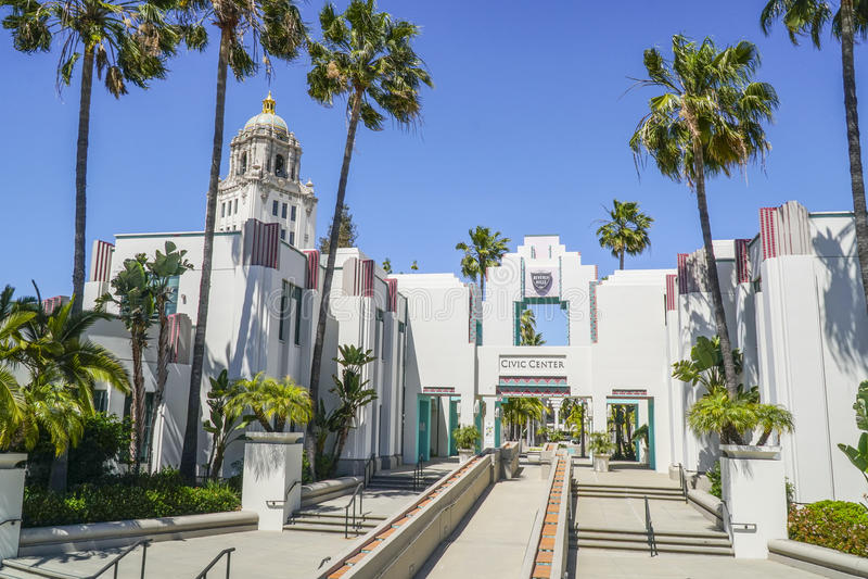 Beverly Hills Civic Center - LOS ANGELES - KALIFORNIEN - APRIL 20, 2017 arkivfoto