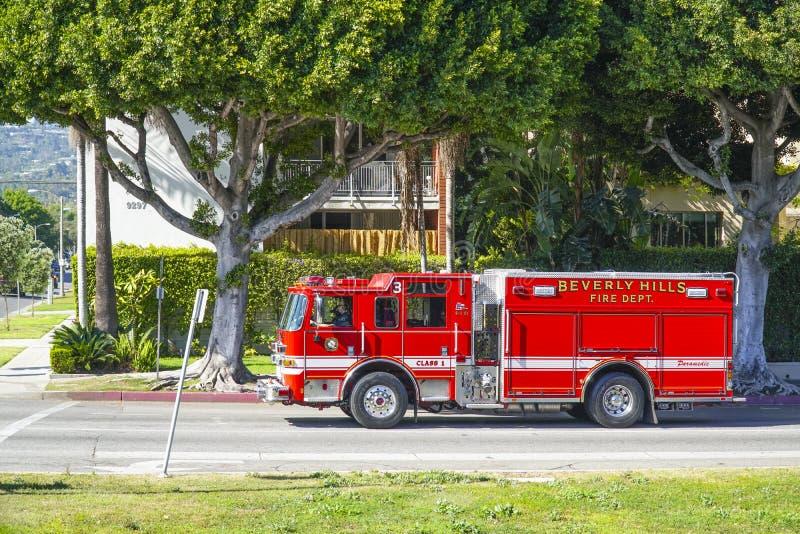 Beverly Hills Fire Department i Los Angeles - LOS ANGELES - KALIFORNIEN - APRIL 20, 2017 arkivbild