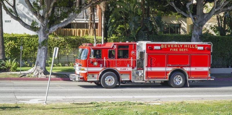 Beverly Hills Fire Department i Los Angeles - LOS ANGELES - KALIFORNIEN - APRIL 20, 2017 royaltyfri fotografi
