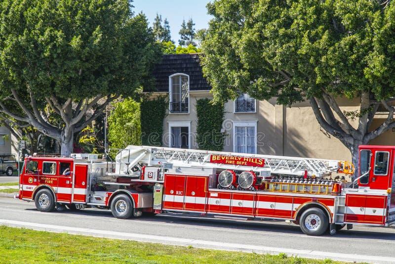 Beverly Hills Fire Department i Los Angeles - LOS ANGELES - KALIFORNIEN - APRIL 20, 2017 royaltyfria bilder