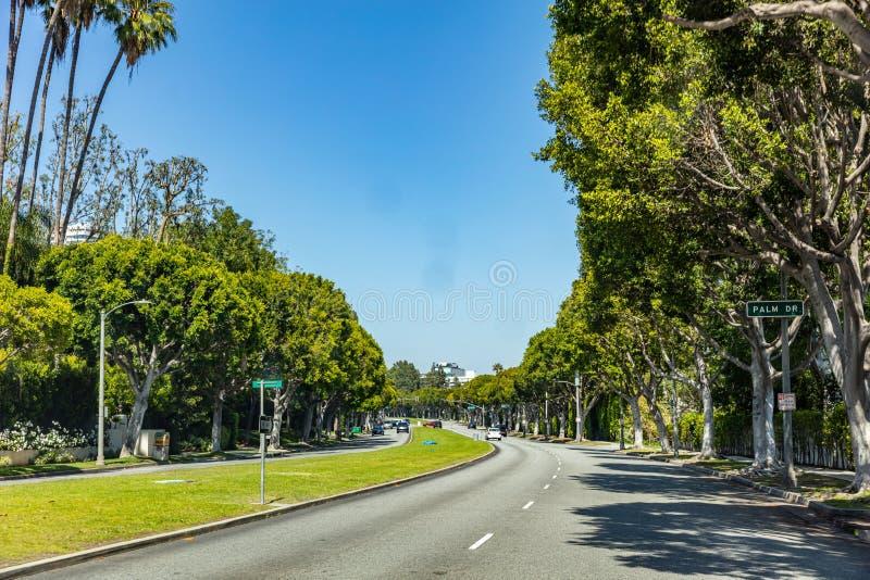Beverly Hills LA Kalifornien, USA Gömma i handflatan dr tecken royaltyfria foton