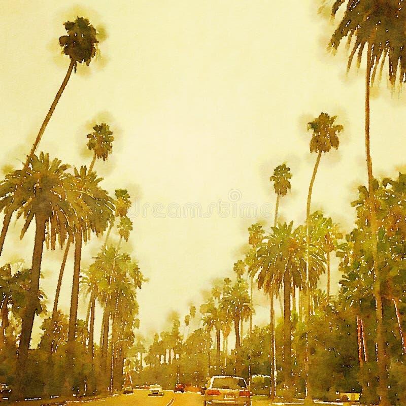 Beverly Hills Los Angeles stylized watercolor street scene stock illustration