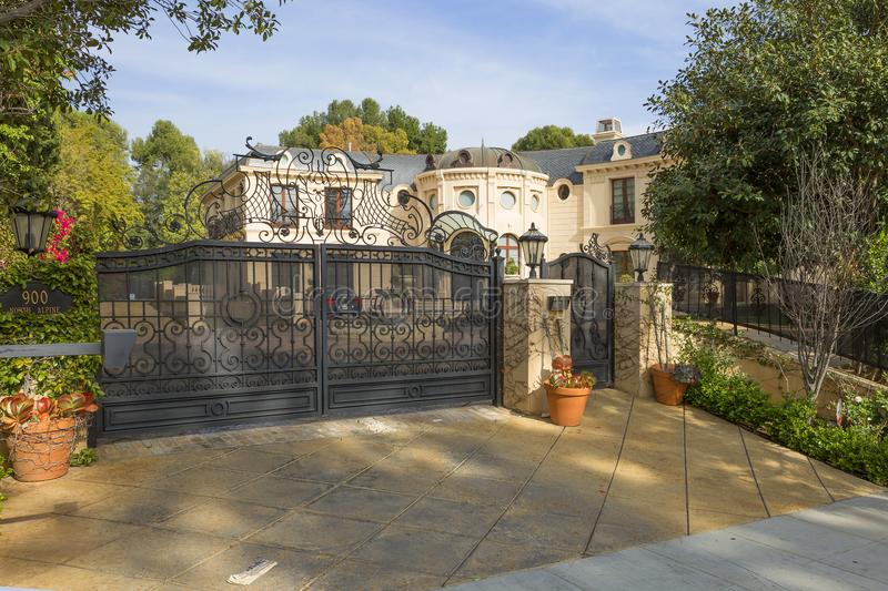 Los Angeles, USA, Charming Beverly hills mansions. Beverly Hills. This is the most famous area of Los Angeles is easy to learn from the chic mansions stock images