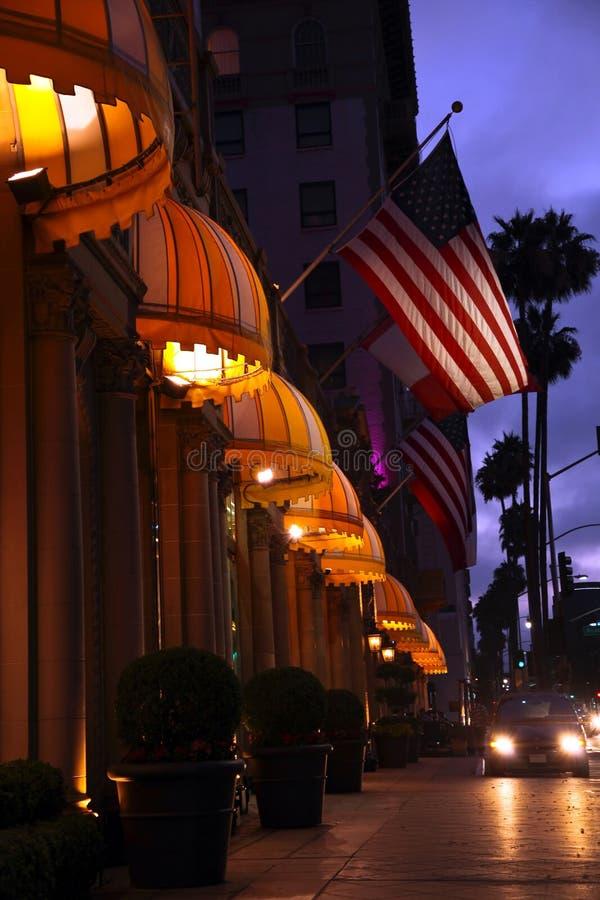 Beverly Hills nachts stockfotografie