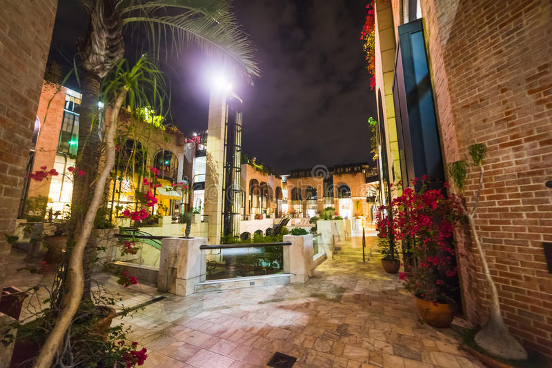 Beverly Hills by night. California royalty free stock photo