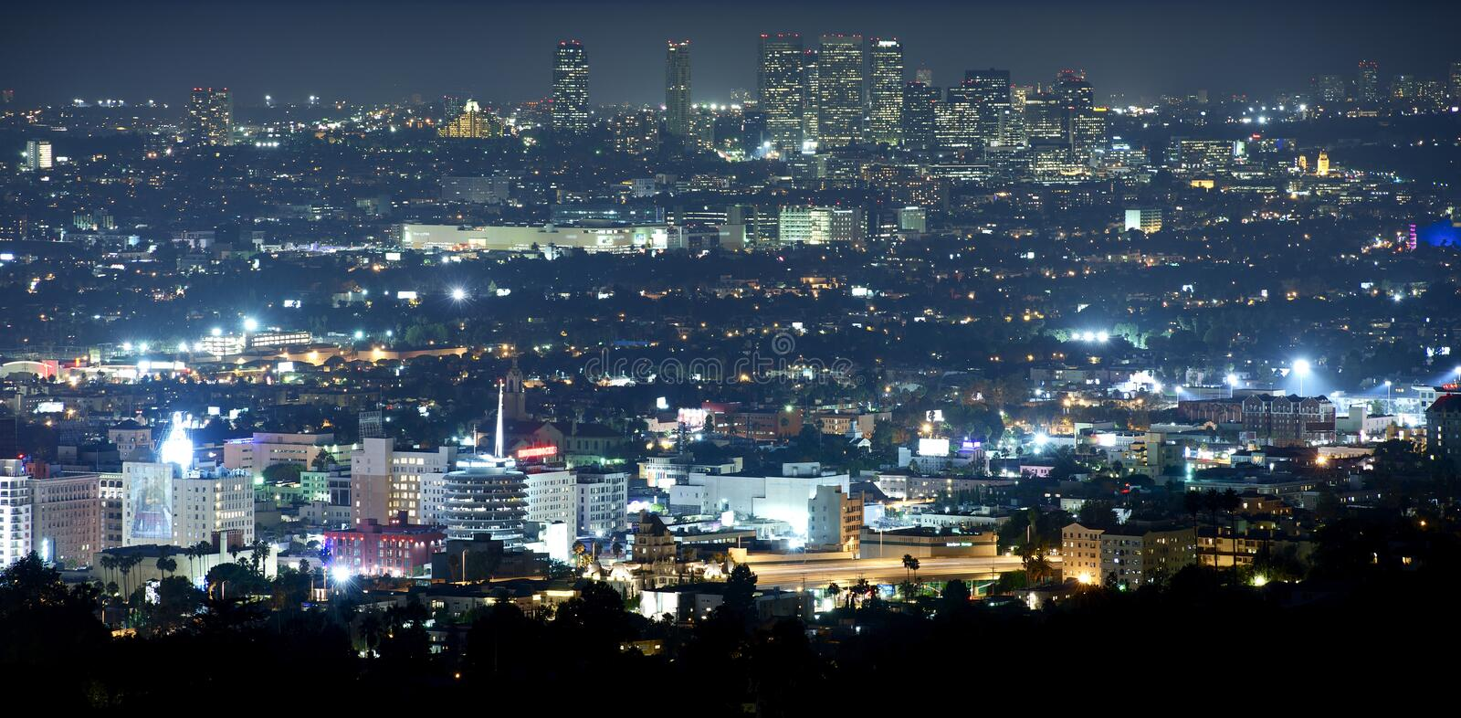 Beverly Hills at Night. Panoramic Night Time Photography. Hollywood and Beverly Hills, California, USA stock images