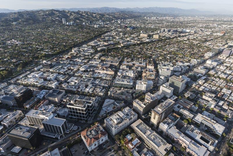 Beverly Hills och Los Angeles antenn royaltyfri bild