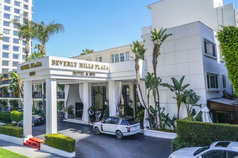 Beverly Hills Plaza Hotel i Los Angeles - LOS ANGELES - KALIFORNIEN - APRIL 20, 2017 royaltyfria bilder