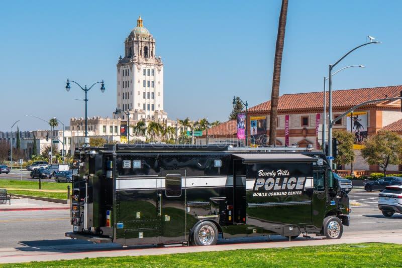 Beverly Hills Police Mobile Command mitt - KALIFORNIEN, USA - MARS 18, 2019 arkivfoton