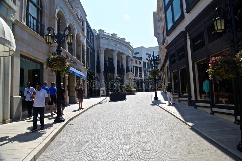 Beverly hills on rodeo drive. Rodeo drive in Los angeles, California royalty free stock image