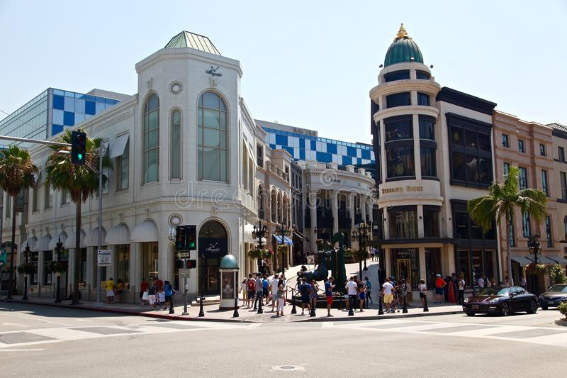 Beverly hills on rodeo drive. Rodeo drive in Los angeles, California stock photography