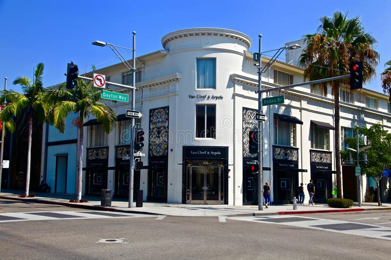 Beverly hills on rodeo drive. Rodeo drive in Los angeles, California royalty free stock photos