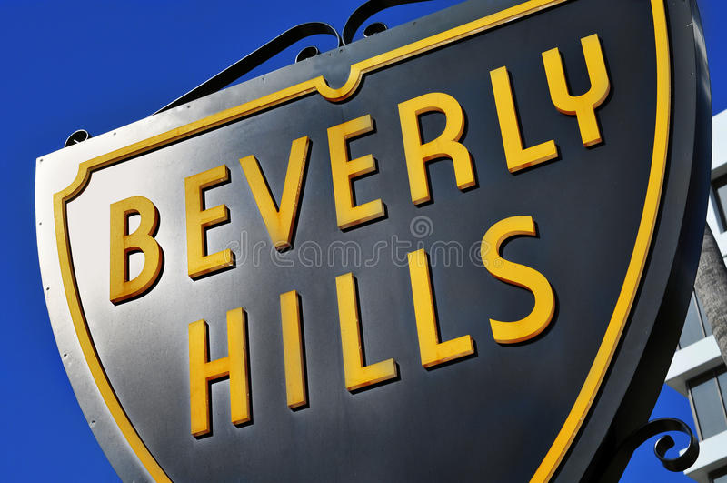Beverly Hills sign. Closeup of a typical Beverly Hills sign, United States royalty free stock photos