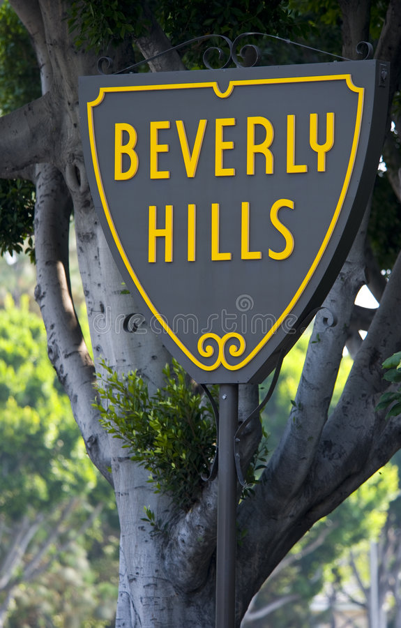 Download Beverly Hills Sign stock image. Image of yellow, hills - 6490183