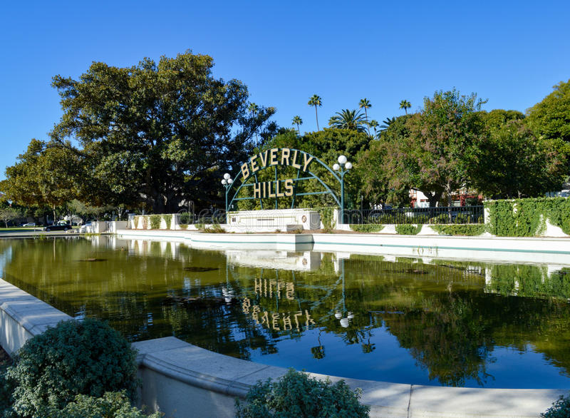 The Beverly Hills Sign at Beverly Gardens Park royalty free stock image