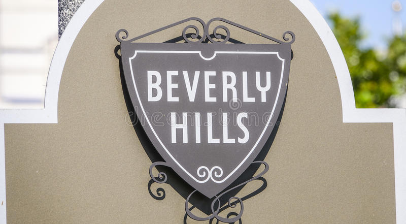 Beverly Hills Sign i Los Angeles - LOS ANGELES/KALIFORNIEN - APRIL 20, 2017 arkivbild