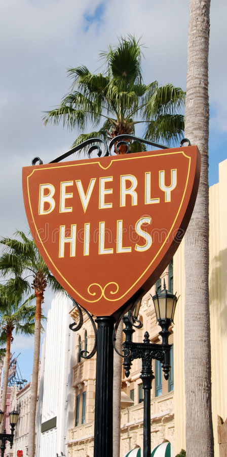 Beverly Hills sign leading to fame and fortune royalty free stock photos