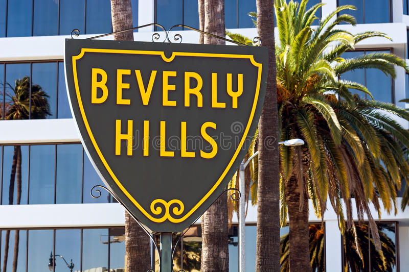 Beverly Hills sign in Los Angeles. Famous Beverly Hills sign in Los Angeles royalty free stock image