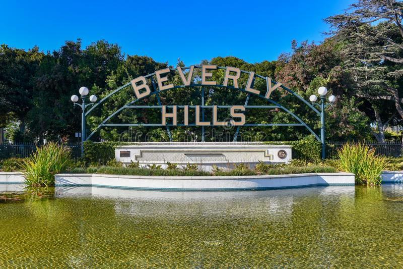 Beverly Hills Sign - Los Angeles, Kalifornien royaltyfri foto