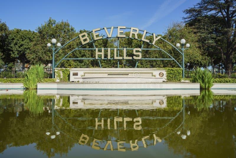 Beverly Hills Sign på Beverly Gardens Park royaltyfri bild