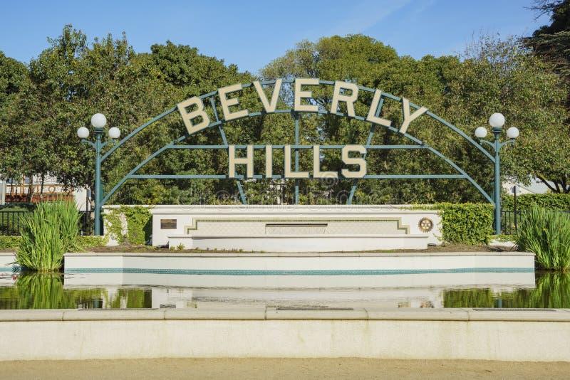 Beverly Hills Sign på Beverly Gardens Park arkivbilder