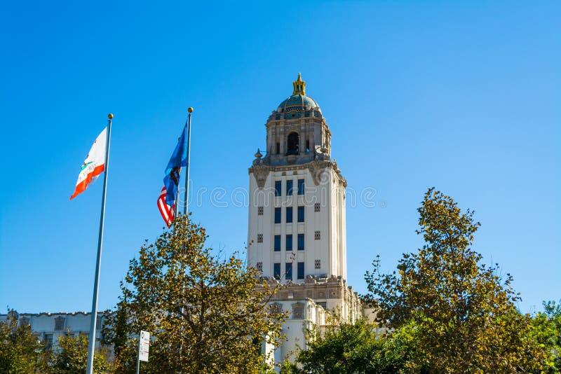 Beverly Hills stadshus på en klar dag arkivbild