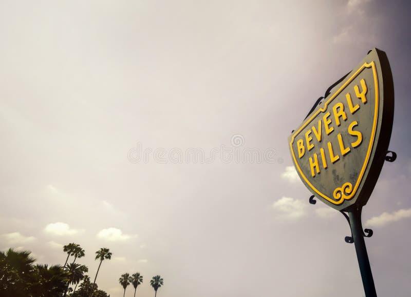 Beverly Hills Street Sign arkivfoton