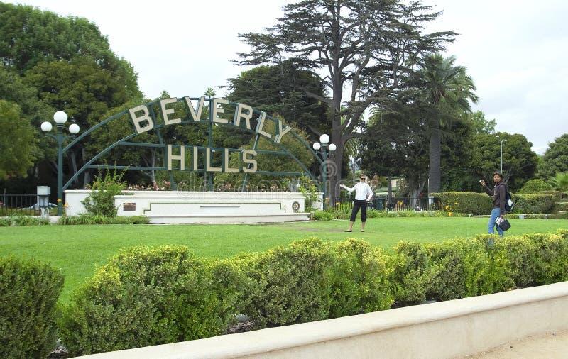 Beverly Hills undertecknar i Los Angeles parkerar fotografering för bildbyråer