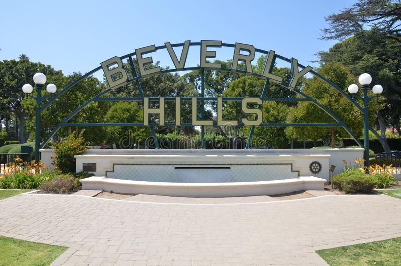 Beverly Hills undertecknar i Los Angeles parkerar i Los Angeles, USA royaltyfri bild