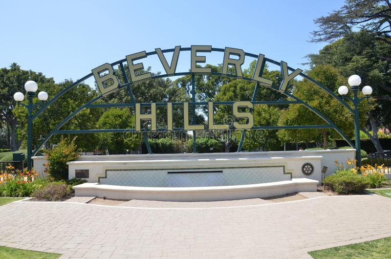 Beverly Hills undertecknar i Los Angeles parkerar i Los Angeles, USA arkivbild