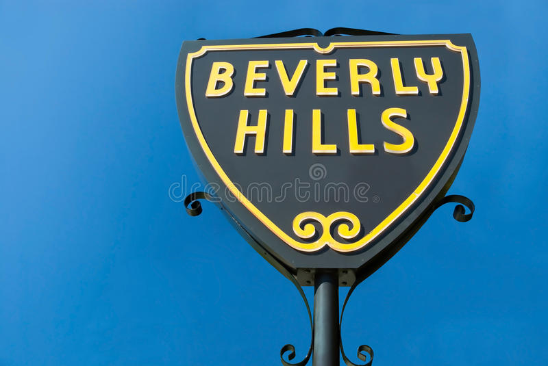 Beverly Hills undertecknar in Los Angeles närbildsikt royaltyfri bild