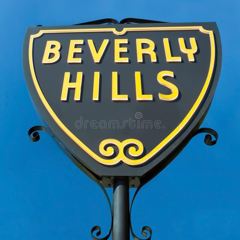 Beverly Hills undertecknar in Los Angeles närbildsikt royaltyfria foton