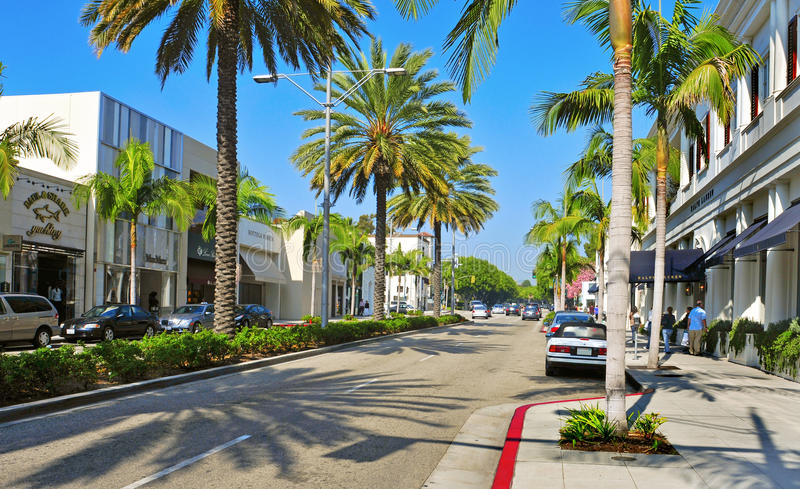 Rodeo Drive, Beverly Hills, Etats-Unis photo stock