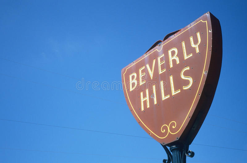 Beverly Hills vägmärke, Los Angeles, Kalifornien royaltyfri foto