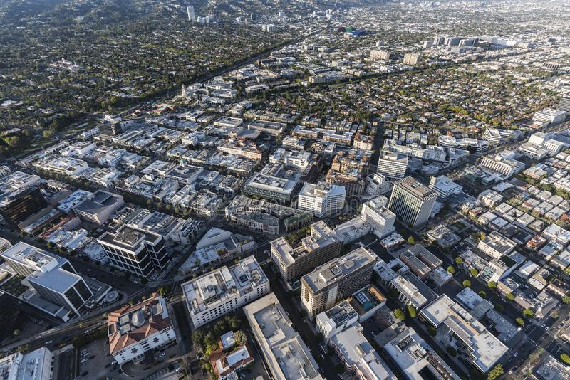Beverly Hills Wilshire Bl and Rodeo Drive Business District Aeri stock images