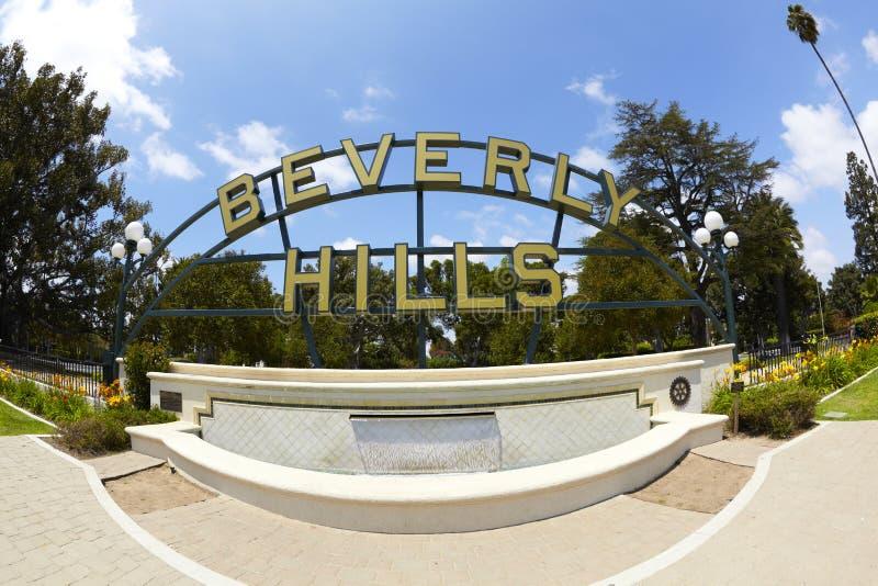 Beverly- Hillspark-Brunnen und Zeichen stockfotografie