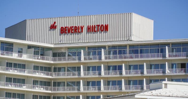 Beverly Hilton Hotel i Beverly Hills - LOS ANGELES - KALIFORNIEN - APRIL 20, 2017 arkivfoto
