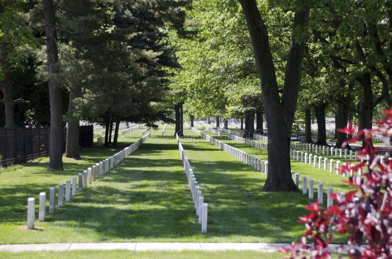 Beverly National Cemetery. Rows of uniform white headstone mark the graves of the cemetery for military veterans of many wars stock images