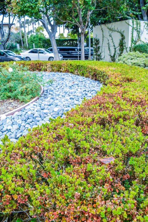 Beverly ogródy Parkują Miło naszywanych krzaki, kwiaty i kamienie przed domem, frontowy jard projekta wysoki ilustraci krajobrazu zdjęcia royalty free