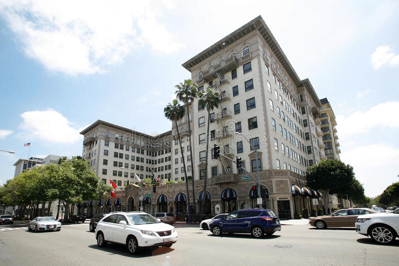 Beverly Wilshire Hotel i Los Angeles royaltyfri foto
