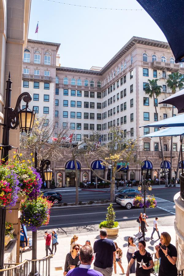 Beverly Wilshire Hotel p? Rodeo Drive i Beverly Hills - KALIFORNIEN, USA - MARS 18, 2019 royaltyfri bild