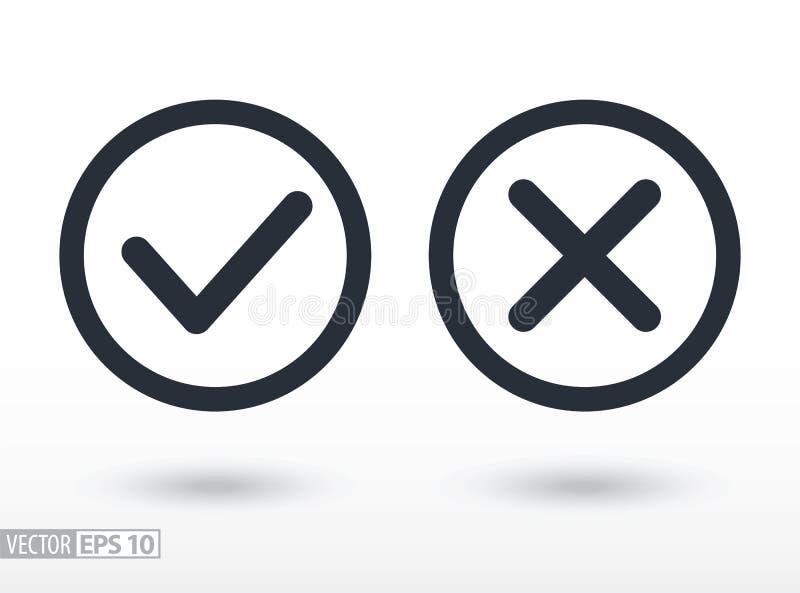 Bevestig en ontken vlak pictogram Vectorembleem voor Webontwerp, mobiel en infographics royalty-vrije illustratie