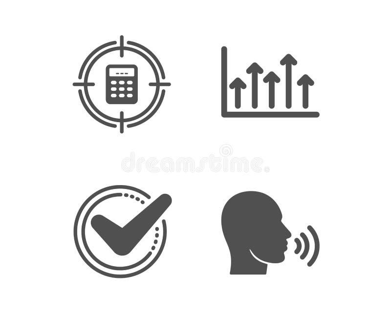 Bevestigd, Calculatordoel en de pictogrammen van de de Groeigrafiek De mens zingt teken Goedgekeurd bericht, Controle, Hogere pij vector illustratie
