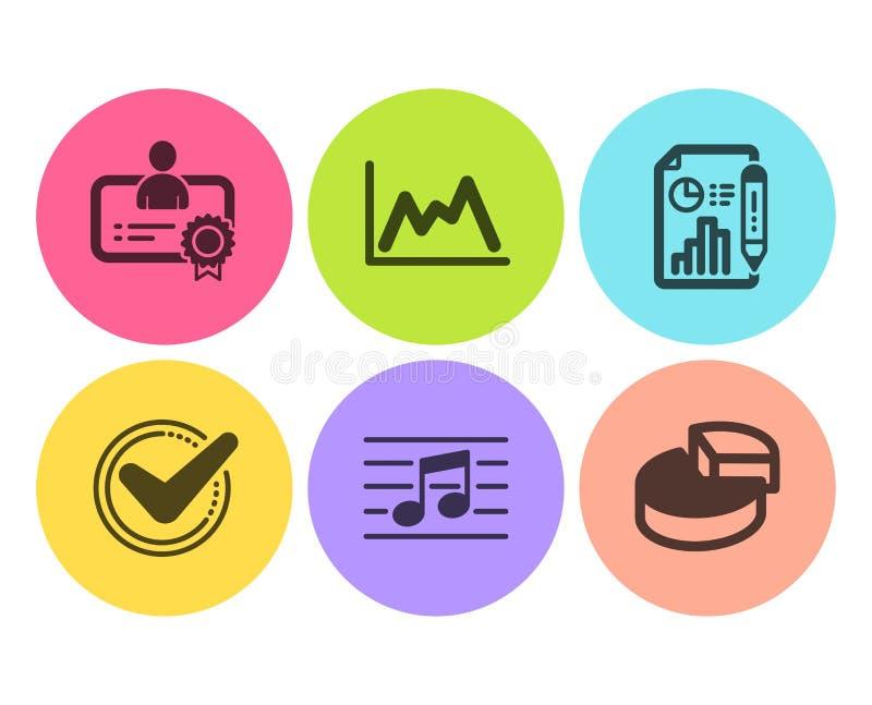 Bevestigd, geplaatst Rapportdocument en Certificaatpictogrammen Muzieknoot, Diagram en cirkeldiagramtekens Vector royalty-vrije illustratie