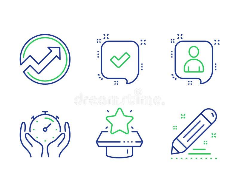 Bevestigd tijdopnemer, en de pictogrammen geplaatste van het Ontwikkelaarspraatje Van het van de winnaarpodium, Controle en Merk  vector illustratie