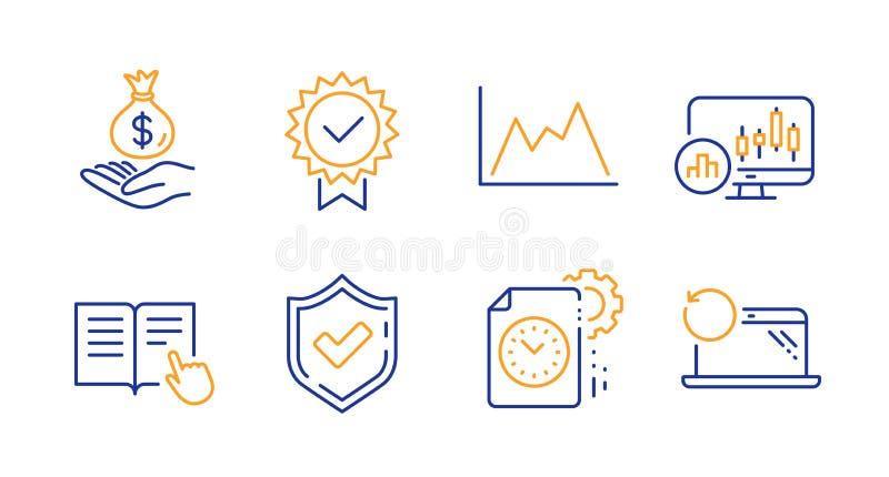 Bevestigde, Diagram en Candlestick-kaartenreeks Inkomensgeld, certificaten en projecttijdtekens Vector royalty-vrije illustratie