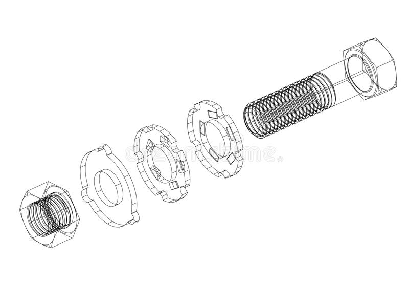 Bevestigingsmiddel 3D blauwdruk vector illustratie