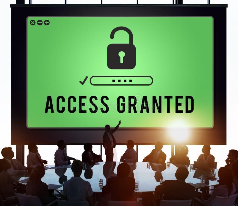 Beviljat tillträde, när som helst den tillgängliga möjligheten låser begrepp upp royaltyfri bild