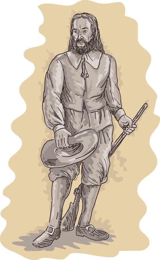 Bevindend het musketgeweer van de pelgrim vector illustratie